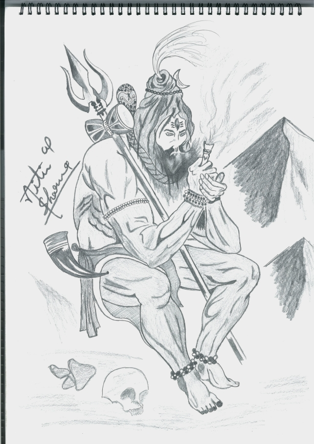 Bhole Smoking Sketch Images free download